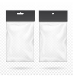 black blank plastic pocket bag transparent set vector image