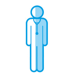 Blue shading silhouette with pictogram male doctor vector