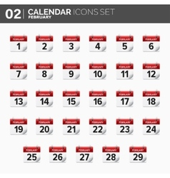 Calendar icons set Date and vector image