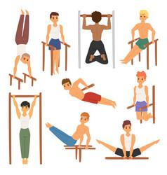 Cartoon horizontal chin-up strong athlete man gym vector
