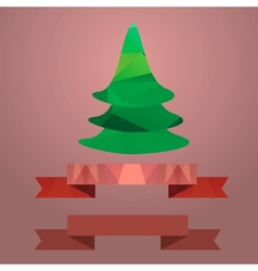 Christmas tree ribbon retro color coral vector