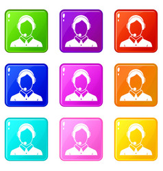 Client services phone assistance set 9 vector