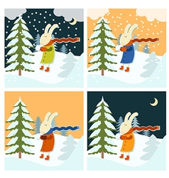 Cold winter with freezing hare vector