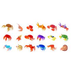 Crabs icon set cartoon style vector