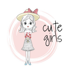 cute girl cartoon vector image