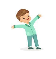 cute smiling little boy cartoon vector image vector image