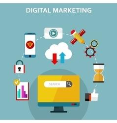 Digital marketing flat icons vector image