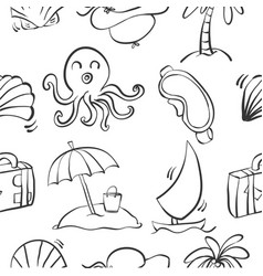 Doodle summer holiday element collection vector