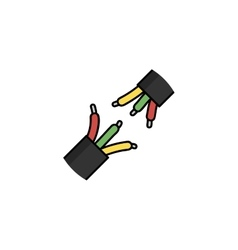 Electricity flat icon wires vector