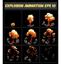 Explosion cartoon animation frames for vector