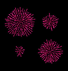 fireworks set isolated on black vector image vector image