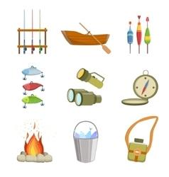 Fishing and camping equipment set vector