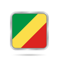 Flag of congo shiny metallic gray square button vector
