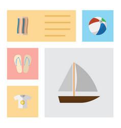 Flat icon summer set of beach sandals wiper vector