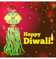 Greeting card for Diwali with colorful lanterns vector image vector image