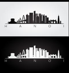 hanoi skyline and landmarks silhouette vector image
