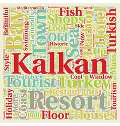 Kalkan holiday resort in turkey text background vector
