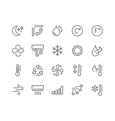 Line Air Conditioning Icons vector image