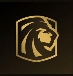Lion head gold logo emblem vector