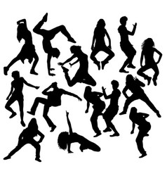 Modern dancer silhouettes vector