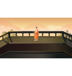 Monk to receive food in morning vector