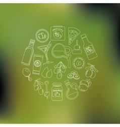 Olives icons in circle vector