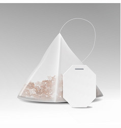 Pyramid tea bag mock up with empty white label vector