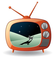 retro tv set with a cat vector image vector image