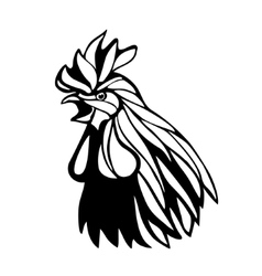 Rooster head outline vector image