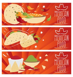 Set of banners for theme mexican cuisine with vector