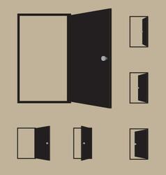 Set of black door icons vector image vector image