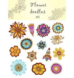Set of doodle flowers 1 Ornamental Flowers vector image