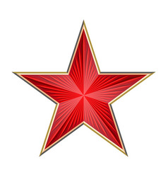 shiny red star with rays vector image vector image