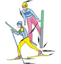Skiing nordic combined vector