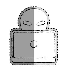 sticker monochrome blurred of criminal hacker and vector image