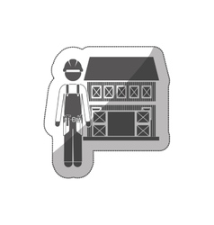 sticker silhouette builder with helmet and house vector image