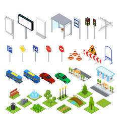 Street and park objects set isometric view vector