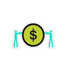 Stylish sticker on paper people and coins vector