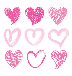 Sweetheart i love you valentine heart brush cute c vector