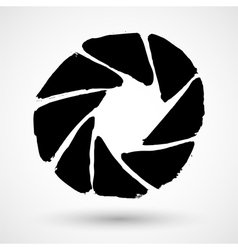 The diaphragm icon grunge aperture symbol vector