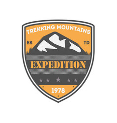 Trekking expedition vintage isolated badge vector