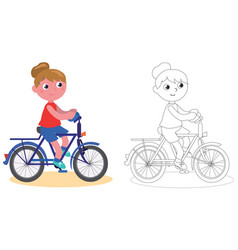 Young biker girl isolated and coloring vector