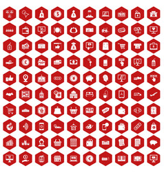 100 payment icons hexagon red vector image vector image