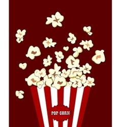 Popcorn exploding inside the red white striped vector