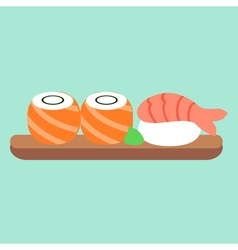 Set of sushi and rolls asian food japanese lunch vector