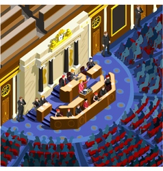 Election infographic congress hall isometric vector