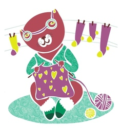 Cute knitting cat vector
