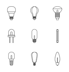 Types of lamps icons set outline style vector