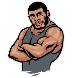 Muscular fighter crossed arm vector