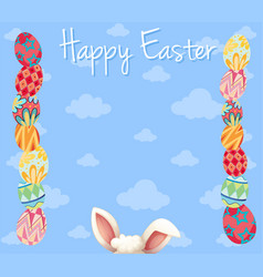 Easter card template with colorful eggs vector